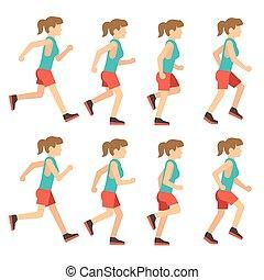 סדר, רץ, הסגר, לרוץ, אנימציה, אישה נקבה, ענוב