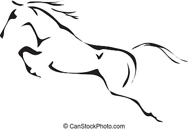 סוס קופץ, וקטור, שחור, לבן, תרשימים