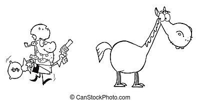 סוס, שודד, שלו, לרוץ, בכיוון