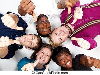 סטודנטים, רב גזעני, לחייך, קולג', פנים