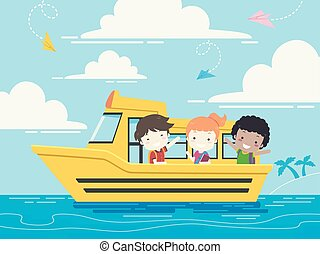 סטודנט, ילדים של בית הספר, סירה, דוגמה