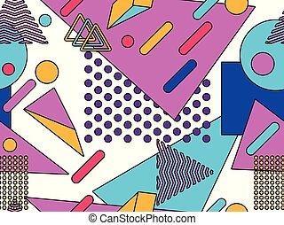 סיגנון, אוביקטים, תקציר, pattern., seamless, באוהאוס, רקע., וקטור, דוגמה, לטף, גיאומטרי, 80s., ממפיס