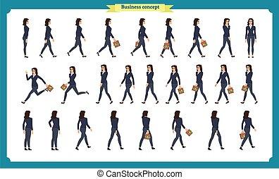סיגנון, אוסף, לך, active., movements., הבט, woman., קנת, עסק, לרוץ, רוץ, תמוך, חזית, ציור היתולי, דירה, אופי, מיגוון, ללכת, קבע