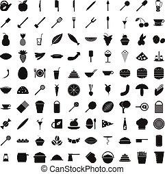 סיגנון, איקונים, אוכל, קבע, 100, פשוט