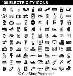 סיגנון, איקונים, חשמל, קבע, 100, פשוט