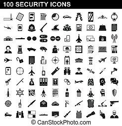 סיגנון, איקונים, קבע, פשוט, בטחון, 100