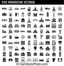 סיגנון, איקונים, קבע, פשוט, חלון, 100