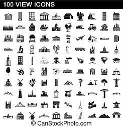 סיגנון, איקונים, קבע, פשוט, 100, הבט