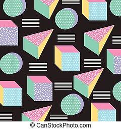 סיגנון, איקונים, תבנית, seamless, רקע שחור, גיאומטרי, ממפיס