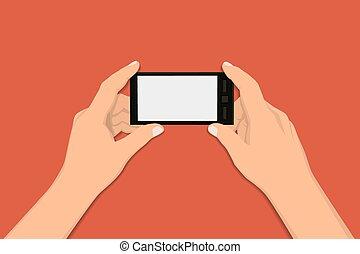 סיגנון, חכם, להחזיק, עסק, רקע, הפרד, illustration., וקטור, עצב, טלפן., אדום, העבר, דירה