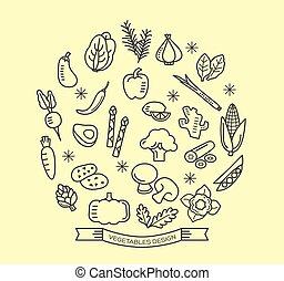 סיגנון, יסודות, תאר, איקונים, עצב, ירק, קו