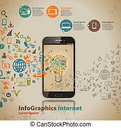 סיגנון, מחשב, בציר, infographic, דפוסית, טכנולוגיה, ענן