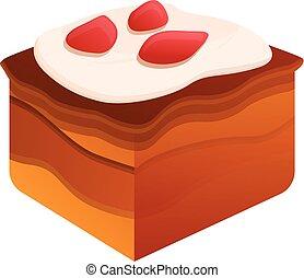 סיגנון, מתוק, עוגה, איקון, חתיכה, ציור היתולי