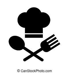 סיגנון, קו, מזלג, טבח, כף, כובע