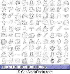 סיגנון, שכונה, תאר, איקונים, קבע, 100