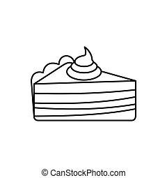 סיגנון, תאר, עוגה, איקון, חתיכה, קרם