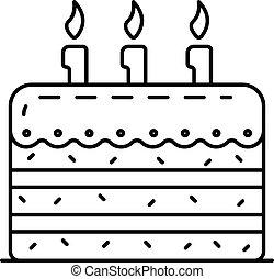 סיגנון, תאר, עוגה, יום הולדת, טעים, איקון