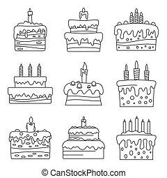 סיגנון, תאר, קבע, מתוק, עוגה של יום ההולדת, איקון