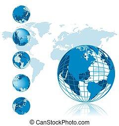סידרה, גלובוס, 3d, מפה, עולם