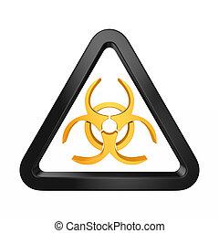 סיכון ביולוגי, הפרד, דוגמה, לבן, סמל, 3d, רקע.