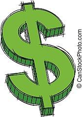 סימן של דולר, שרבט, ירוק