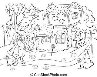סיפור, לצבוע, לאכול, צבעוני, כמה, קטע, עמוק, ממתקים, וקטור, זוג, יער, דומה לילד, קוטג~, ילדים