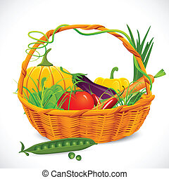 סל, ירקות, מלא
