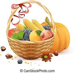 סל, נצר, ירקות, פירות