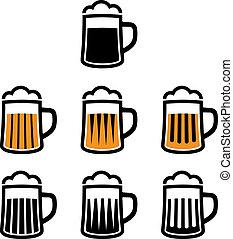 סמלים, בירה, וקטור, ספל