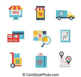 סמלים, מסחר אלקטרוני, יסודות, קניות, אינטרנט