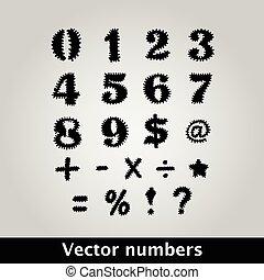 סמלים, קוצי, שחור, מספרים