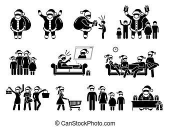 סנטה, צפה, מקיף, הסתר, ללבוש, אנשים, במשך, כלאאס, חג המולד.