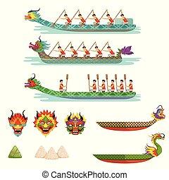 ספורטאיים, סירה, וקטור, התחרה, זכר, קבע, סירות, דרקון, דוגמות, התחבר, פסטיבל