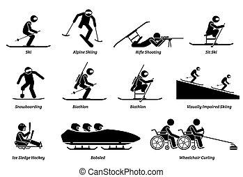ספורטאי, חורף, icons., ספורט, מוטרח, הדבק, נכה, דמויות, משחקים