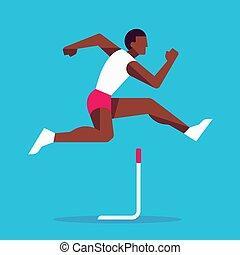ספורטאי, רוץ, משוכה, לקפוץ