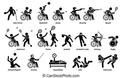 ספורטאי, icons., מוטרח, ספורט, הדבק, שבתוך הבית, נכה, דמויות, משחקים