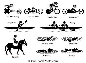 ספורטאי, icons., ספורט, מוטרח, הדבק, לרוץ, נכה, דמויות, משחקים