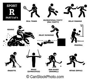 ספורט, משחקים, אלפבית, *r*, pictogram., וקטור, איקונים