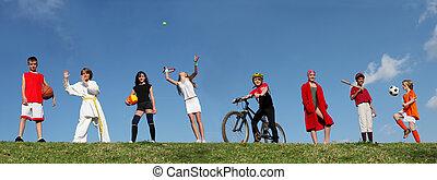ספורט של קיץ, מחנה, ילדים
