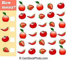 ספור, חינוכי, לספור, ירקות, game., children., איך, משחק, לפני בהס, הרבה, פירות, הקלט, עינבים, מתמטיקה, result!