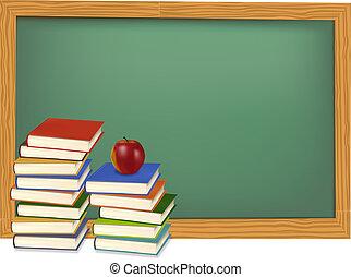 ספרים, desk., vector., בית ספר