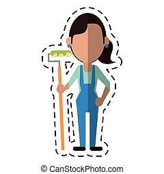 סרבל, צייר של אישה, ציור היתולי, מוט גלילי