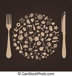 סתום, יצור, מסעדה, איקונים, כדור, סכין