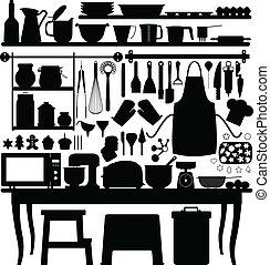 עבד, לאפות, עוגה, מטבח