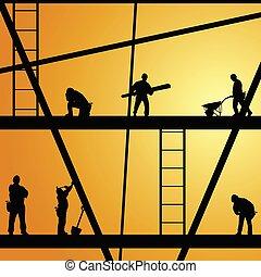 עבודה, בניה, וקטור, עובד, דוגמה