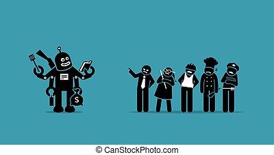 עבודות, בן אנוש, לקחת, רובוט, future., מעל