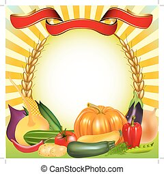 עגבניה, ירקות, מלפפון, רקע, אוזן, אסף, דלעת