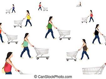 עגלה של קניות, אנשים