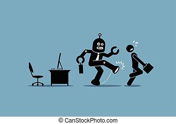 עובד, בן אנוש, עובד, רובוט, הלאה, עבודה, משרד., שלו, בועט, מחשב
