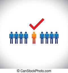 עובד, גרפי, זכות, selecting(hiring), illustration-, employable, candidate., דוגמה, ציין, בן אדם, עבודה, עובד, suitable, מראה, check(tick)